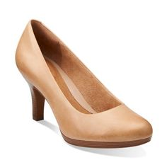 Clark's Tempt Appeal Nude Pump - thicker, wooden heel should hold up well to wear and tear