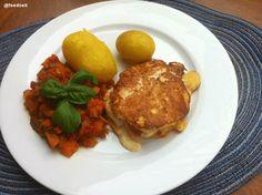 Stuffed turkey breast with bell pepper basil vegetable stew - Gefüllte Putenbrust mit Paprika Basilikum Gemüse