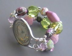 Green and Pink Beaded Watch Band