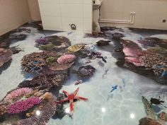 A complete guide to flooring installation, bathroom floor murals and designs, epoxy flooring prices and tricks from experts, floor art applying in the bathroom flooring 3d Floor Art, 3d Floor Painting, Floor Murals, Wall Murals, 3d Flooring, Bathroom Flooring, Flooring Ideas, Flooring Options, Bathroom Tiling