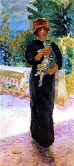 """Pierre Bonnard (Fontenay-aux-Roses, 1867 - Le Cannet, 1947) """"Marthe à la chatte"""" 1912, Huile sur toile, H. ? cm ; L. ? cm.   ? © ?"""