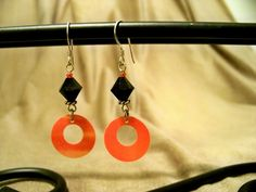 Black Swarovski with Coral Sequin Disk Sterling Earrings