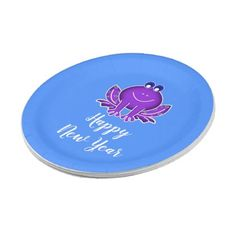 cute purple frog paper plate - New Year's Eve happy new year designs party celebration Saint Sylvester's Day