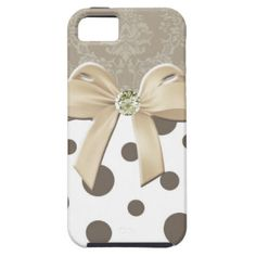 Damask Polka Dots Bow and Jewel iPhone 5 Case