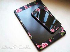 Black floral ipad/iPod case