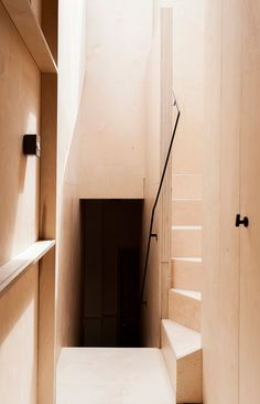 Plywood was chosen as the single wall, floor and ceiling material for the Victorian house extension in South London.