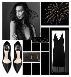"""Black dress"" by rushanaofficials ❤ liked on Polyvore featuring Yves Saint Laurent and Dion Lee"