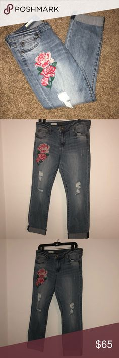 """NWOT Embroidered Distressed Boyfriend Jeans Adorable kut from the kloth Jeans. Catherine Boyfriend style. Embroidered, distressed, AND boyfriend style. These jeans have it all. They would make any casual outfit instantly cuter. Throw on and go with any tee! Brand new condition, they have never been worn. Can be worn cuffed or uncuffed. 31"""" inseam when uncuffed. Kut from the Kloth Jeans Boyfriend"""