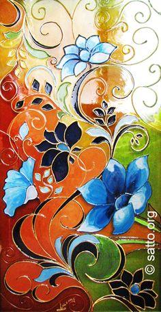Стъклени цветя, Витраж в техника рисувано стъкло, Стъклопис витрина, 30х55см