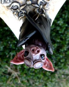 Polymer Clay Steampunk Bat Myxie Pal Sculpture by MysticReflections
