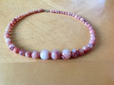 Chunky Peach Marbled Bead Necklace by FancyThatBlingCo on Etsy