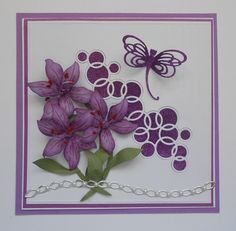 Good Morning, this is Selma Stevenson today. Don't you love all the beautiful flowers you can create with Susan's Garden Note flower dies! There is a Lily 2 die set in Susan's new release and I have used it for this card. These flowers are so easy to die cut and assemble. Create three lilies. To create a realistic look, use a fine nib marker to draw a line down the center of each petal and little short lines on each side. Shape the flowers with Susan's Flower Tool Kit and glue petals…