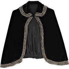 Bess Velvet studded cape ❤ liked on Polyvore featuring outerwear, jackets, coats, cape, tops, women, black velvet cape, cape coat, black cape and velvet cape