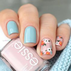 Essie Go go geisha & Udon know me // It's oh so sweet, shhh, shhh . essie fall 2016 go go geisha udon know me pink and blue flower floral nail art Flower Nail Designs, Acrylic Nail Designs, Cute Nail Designs, Nail Designs Spring, Cute Nails, Pretty Nails, Milky Nails, Nagellack Design, Blue Acrylic Nails