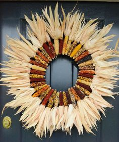 Indian Corn Wreath DIY