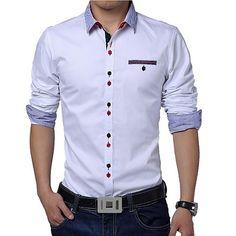 66e50b57e Masculino Camisa Formal Cor Solida Manga Comprida Algodão / Poliéster Azul  / Verde / Vermelho /