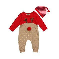 544e07a9e4 2 Piece Reindeer Romper + Hat Set. Baby Outfits NewbornBaby Girl  NewbornBaby Boy ...