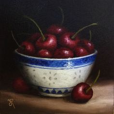 ARTFINDER: Bowl of Cherries by Jane Palmer - This is an Original oil painting, painted alla prima from life. Canvas board size -approx 15 x 15 cm (approx 6 x 6 inch ) Painted on 3mm thick canvas...