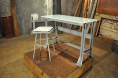 After: Sleek and Shiny A fabulous clean-up job works wonders, but the upholstered seat and frosted glass top take this table to the next lev...