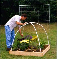 Cover for your garden.  Stick criss-crossing PVC pipe in the dirt and secure at the X with a heavy-duty plastic tie.  Cover with netting or chicken wire.  Keep out the critters!