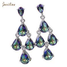 Latest Design Brand Purple Rainbow Mystic Cubic Zirconia silver jewelry dangle earrings fashion Cute jewelry E204