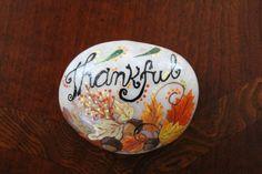 Beautiful Autumn/ Fall/ Thanksgiving/ Thankful/ Handpainted stone/ Seasonal/ painting