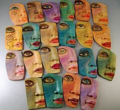 Kim Cavender - Invasion of the Face Snatchers! - polymer clay, different surface finishes