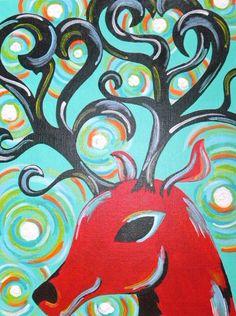 Original 9x12 Red Deer Painting