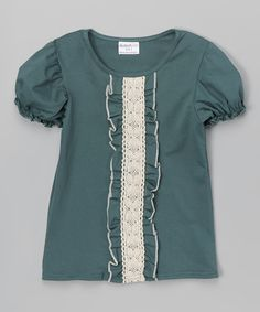 Loving this Cobalt & Ivory Lace Ruffle Tee - Infant, Toddler & Girls on #zulily! #zulilyfinds