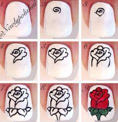 Uñas decoradas con rosa   Decoración de Uñas - Manicura y Nail Art