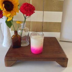 reSOYcle Soy Candles: Country Lemonade Pink Ombre Mason Jar Soy Candle