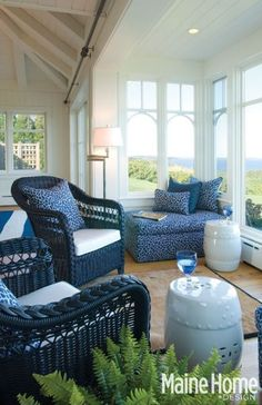 Christine Maclin Design- blue wicker for the screen porch...