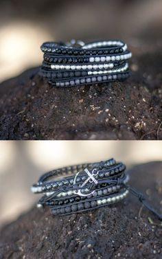 Black & Silver Leather Anchor Wrap Bracelet