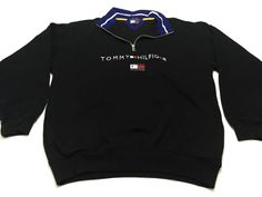 Tommy Hilfiger L 1/2 Zip Pullover Sweater Black Cotton Blend Large NEW NWT #TommyHilfiger #12Zip