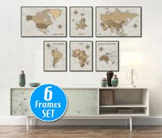 WORLD MAP SET of 6 frames Map of the world World Map by ArchTravel