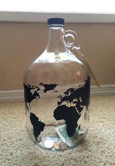 World Map Money Jar Travel Fund - 1 Gallon Glass Jug with World Map in Vinyl - Unique Gift for man, teenager, traveler, adventure seeker etc by ALLSALESAREVINYL on Etsy https://www.etsy.com/listing/268578132/world-map-money-jar-travel-fund-1-gallon
