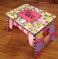 This pretty pink step stool will be painted AND PERSONALIZED for you.  I will purchase the stool, you tell me the name of the lucky little