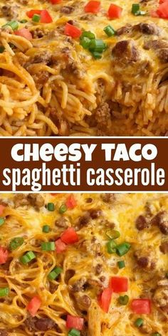 Cheesy taco spaghetti casserole is the ultimate dinner comfort food. Cheesy pasta loaded with taco seasoned ground beef, chili beans, and tomato. Bakes in one pan, serves a crowd, and the leftovers are fabulous for another meal! Taco Spaghetti, Cheese Spaghetti, Mexican Spaghetti, Spaghetti Squash, Cowboy Spaghetti, Spaghetti With Ground Beef, Recipe For Baked Spaghetti, Left Over Spaghetti Recipes, Recipes With Spaghetti Noodles