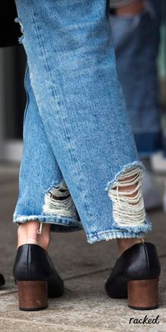 Distressed Jeans and Classic Shoes at London Fashion Week // More Winter Style Ideas from the Best LFW Fall 2016 Street Style: (http://www.racked.com/2016/2/23/11096906/street-style-london-fashion-week-fall-2016)