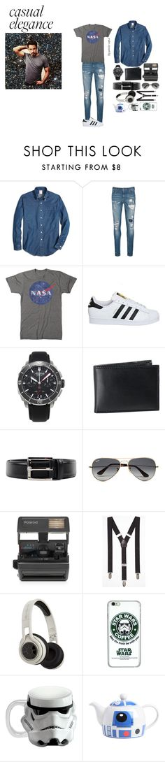 """""""It's a mens world"""" by pernille-sophie ❤ liked on Polyvore featuring Brooks Brothers, Scotch & Soda, adidas, Alpina, BLACK BROWN 1826, Prada, Ray-Ban, Impossible, Express e SMS Audio"""