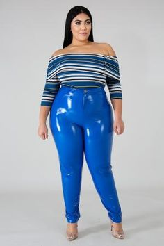 The candy paint pants are as cute as it gets. A casual slay with a cute tee and denim jacket or turn it up a notch with a sexy wrap body suit of your choice! Fit Details: Runs true to size with tons on . Thick Girls Outfits, Classy Outfits, Pretty Outfits, Girl Outfits, Plus Size Fashion For Women, Curvy Women Fashion, Fashion Models, Pvc Leggings, Plus Zise