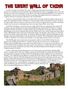 This great, simple activity on the Great Wall of China includes a 1 page reading that highlights the history of the Great Wall from when it was first built through its role in protecting the Ming Dynasty from the Mongols.
