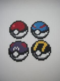 Poké ball, Great ball, Master ball, Ultra ball -  Hama Beads