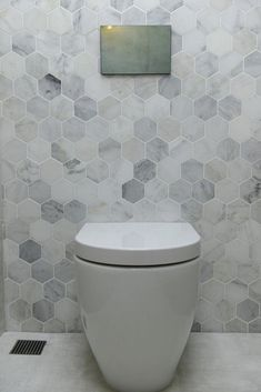 The Block Triple Threat: Wk 4 l Cellar Laundry Powder RoomThese tiles The Block Triple Threat: Week 4 Cellar, Laundry & Powder Room Reveals - STYLE CURATOR bathroomtilesDelight your site visitors with these 30 pretty The Block Bathroom, Hexagon Tile Bathroom, Marble Bathroom Floor, Bathroom Red, Small Bathroom, Bathroom Feature Wall Tile, Feature Tiles, Marble Bathrooms, Hexagon Tiles