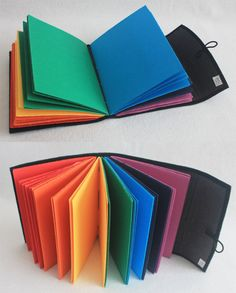 Rainbow Journal Softcover Embroidered Longstitch Binding by PrairiePeasant Book Crafts, Paper Crafts, Rainbow Pages, Book Journal, Journals, Notebooks, Book Projects, Handmade Books, Black Linen