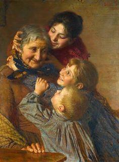 Gaetano Bellei (Italian painter) 1857 - 1922 A Tender Moment, s. oil on canvas x 67 cm Italian Paintings, Wise Women, Italian Artist, Love Art, Impressionist, Painting & Drawing, Oil On Canvas, Art For Kids, Illustration Art
