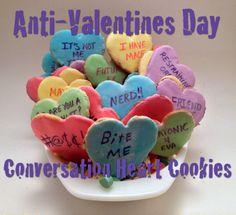 Anti Valentines Day Conversation Heart Cookies