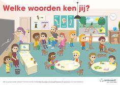 Educatieve taalposter voor de onderbouw 'Welke woorden ken jij?' van Ambrasoft. Gebaseerd op de module Mijn Woordjes in Ambrasoft Rekenen & Taal School. Poster voor in het klaslokaal als hulpmiddel bij het oefenen van de woordenschat van kleuters.