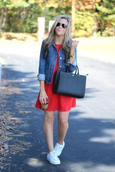 Transitioning Summer Dresses Into Fall. Outfits tenis Denim Jacket Transitions - A Mix of Min Cool Outfits, Summer Outfits, Casual Outfits, Dress Outfits, Fashion Outfits, Summer Dresses, Red Dress Outfit Casual, Denim Outfits, Fashion Ideas