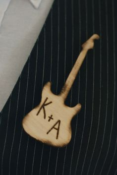 Wood Guitar Wedding Pin Boutonniere Personalized Groom Rustic PUNK (item E10484). $14.50, via Etsy.